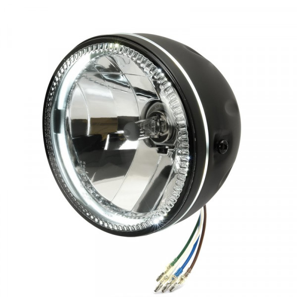 5,5 Scheinwerfer Grooved mit LED Standlicht in Side-Mount-Gehäuse schwarz