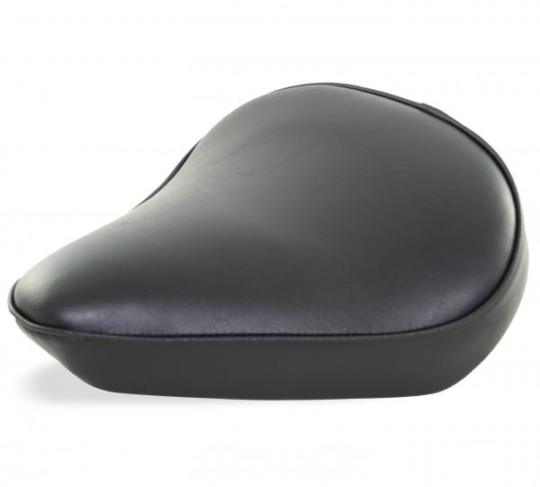 Flacher Solo-Sitz im Vintage-Style, Classic, Breite Ausführung, Schwarzer Sitzbezug