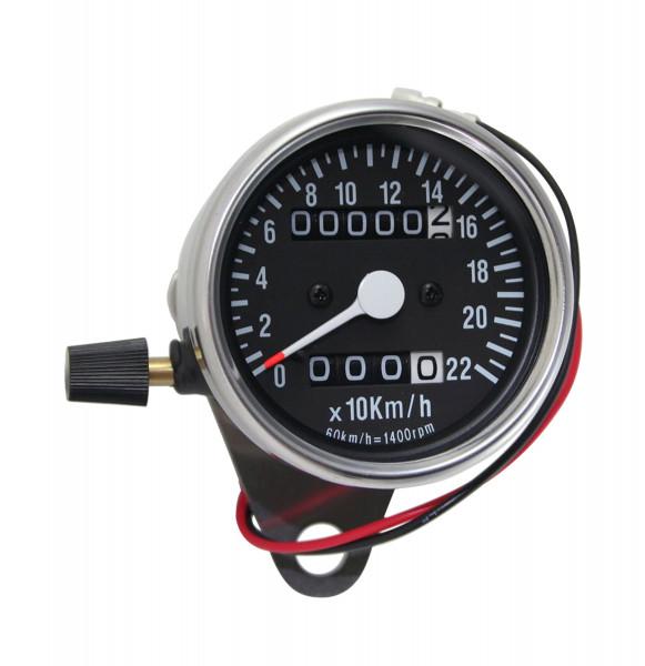 Mini-Tacho mit Tageskilometerzähler, 60 mm, K1,4, Schwarzes Ziffernblatt
