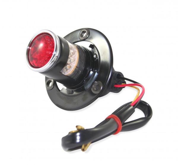 Retro Rücklicht LED, Roten Kunststoffglas, Schwarzes Metall Gehäuse, Universell verwendbar
