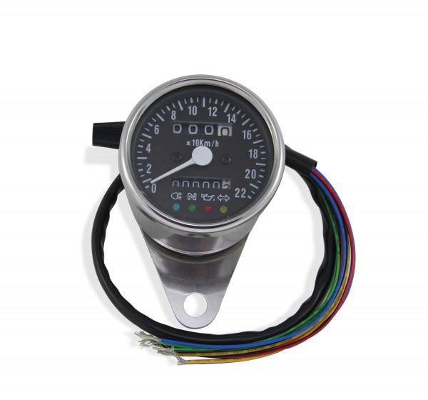 Mini-Tacho mit Kontrollleuchten, ca. 60 mm, schwarzem Ziffernblatt