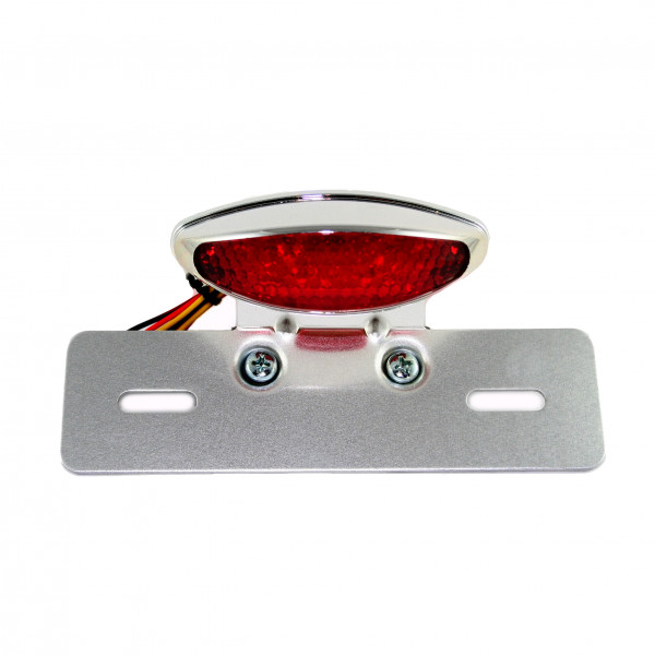 Verchromtes LED Rücklicht mit Rücklicht / Bremslicht-Funktion, Hochglanzverchromt, Rote Streuscheibe