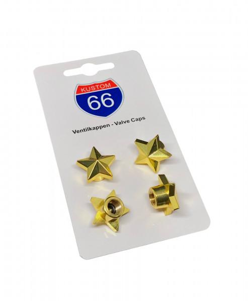 4er Set Ventilkappen Stern in gold