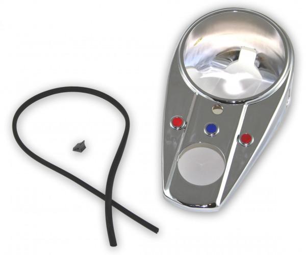 Hochglanzverchromtes Three Light Dash Cover mit Öffnung für Tachometer und Zündschloss