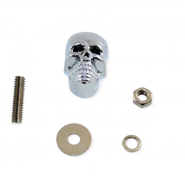 Totenkopfschraube mit bedrohlich schwarzen Augen, ca. 40 mm, Verchromt, 2er Set