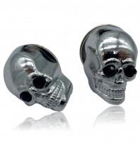 Kennzeichenschrauben - 2er Set verchromte Totenkopfschraube ca. 25 mm schwarze Augen