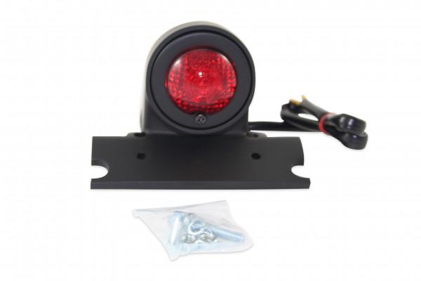 Klassisches Sparto-Rücklicht, verfügt über Fahr- Stand- und Bremslicht, Matt Schwarze Gehäuse