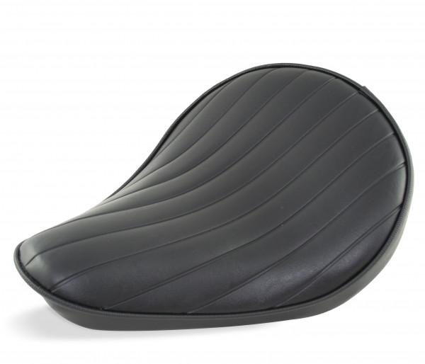 Solo Sitz extra flach im Vintage-Style, Schwarzer Sitzbezug mit Tuck & Roll-Prägung