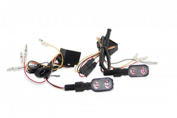Blinker-Rückleuchten-Kombination LED Formschöne Slim Line Metallgehäuse, Schwarz, Universal