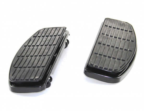 Rectangular Shaker Trittbretter, glänzend schwarz, für 5-Gang H-D Modelle 1980 - 2015, klappbar