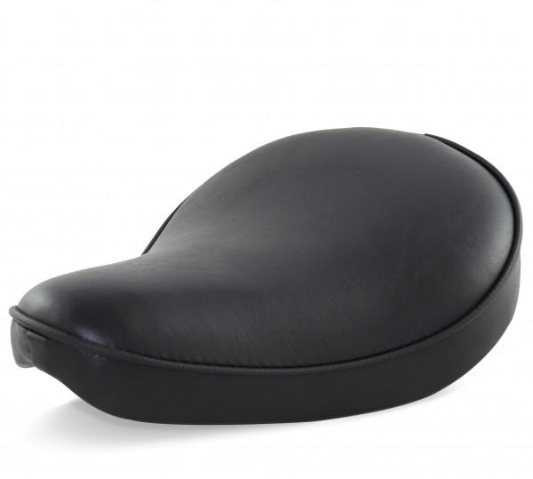 Solo Sitz im Vintage-Style und klassisch schwarzem Sitzbezug für Chopper Bobber Harleys 32x24cm