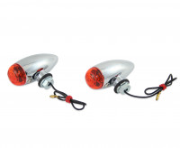 2 x Bullet Light-Blinker, Mini, Verchromtem Metallgehäuse, für universelle Verwendung