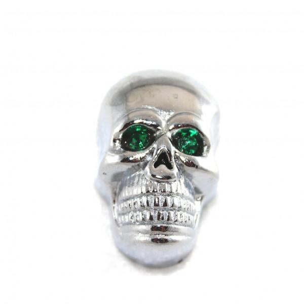 Kennzeichenschrauben - 2er Set verchromte Totenkopfschraube ca. 40 mm grüne Augen