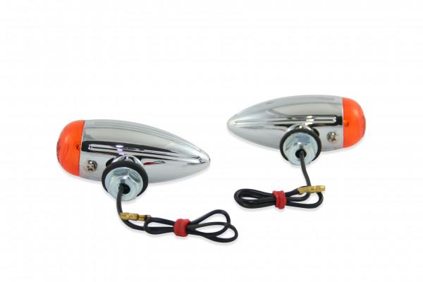 2 x Bullet Light-Blinker, Verchromtem Metallgehäuse, Mini, Grooved Design S, Universell Verwendbar