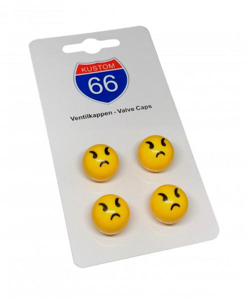 Ventilkappen 4er Set Smiley Böse in Gelb