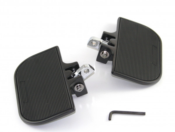 Schwarze Trittbretter H-D Style, klappbar, Individuell einstellbar, für Fahrer und Beifahrer