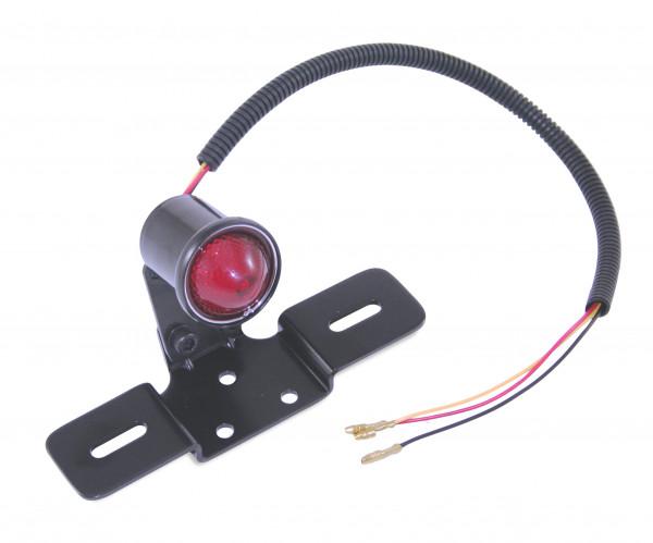 Klassik Rücklicht LED-Technologie Vintage-Look Schwarzes Metall Gehäuse Kennzeichenhalter Universal