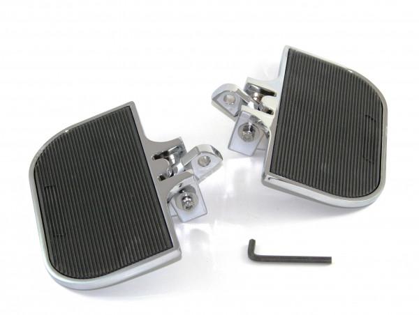 Verchromte Mini-Trittbretter H-D Style Solid vorne und hinten verstellbar, für Fahrer und Beifahrer