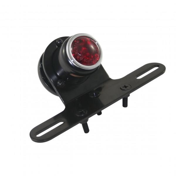 Retro-Rücklicht LED mit Kennzeichenhalter, schwarzes Metall Gehäuse, Roten Kunststoffglas, Universal