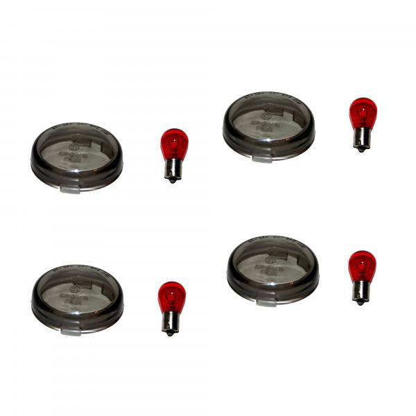 Rauchglas Blinkergläser Set, Smoke H-D FXST FXD XL, Inklusive 12 V Leuchtmittel