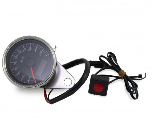 Mini-Tacho mit Schwarzes Ziffernblatt, Analoge Geschwindigkeitsanzeige, ca. 60 mm, K1,0