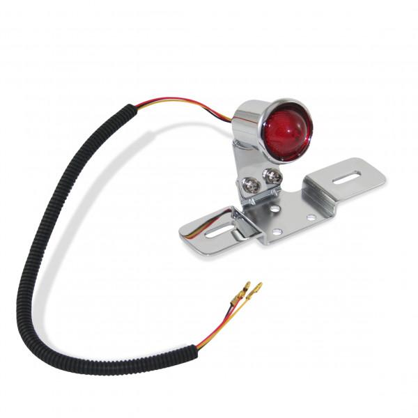 Klassik-Rücklicht LED, Vintage-Look, Metall Verchromtes Gehäuse, mit Kennzeichenhalter, Universal