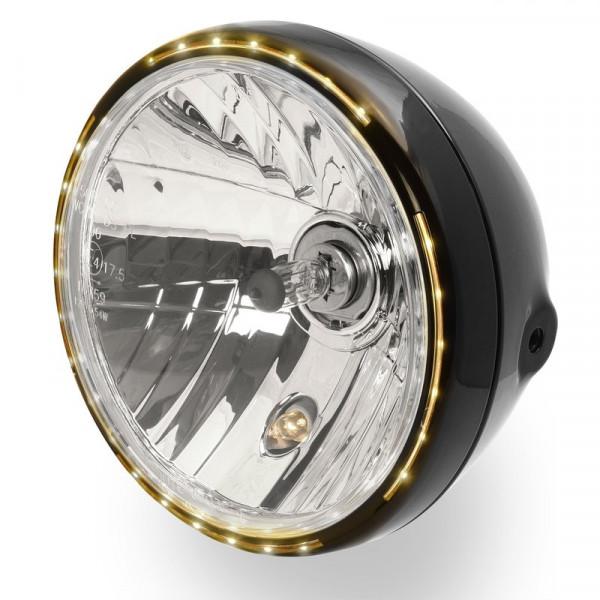 7 Scheinwerfer Sidemount mit LED Standlichtring schwarz