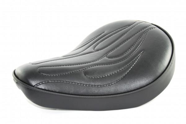 Solo Sitz in Flamed Style geprägt mit schwarzem Bezug für Chopper Bobber Harleys 32cm x 24cm